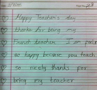 Thank you note from student to teacher